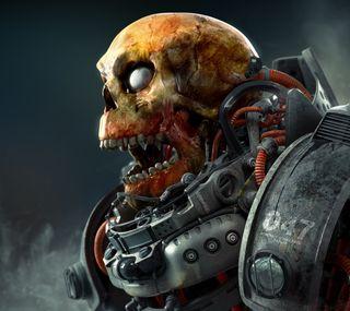 Обои на телефон робот, череп, костюм, skull robot