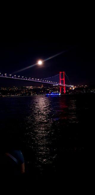 Обои на телефон мост, город, ночь, bosphorus
