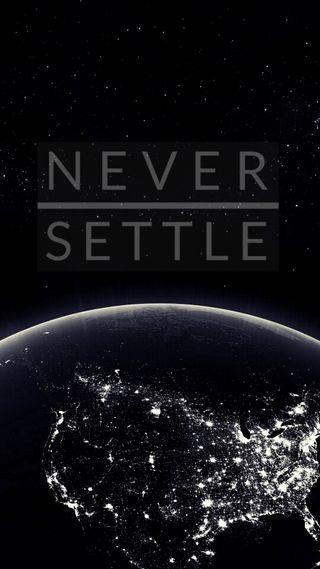 Обои на телефон черные, решить, никогда, мир, never settle, oneplus