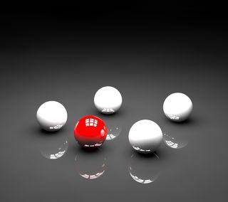 Обои на телефон отражение, черные, простые, мяч, красые, белые