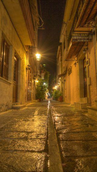 Обои на телефон греция, улица, старые, ночь, город, street night, crete