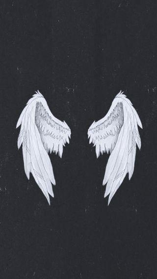 Обои на телефон крылья, черные, летать, белые, ангел