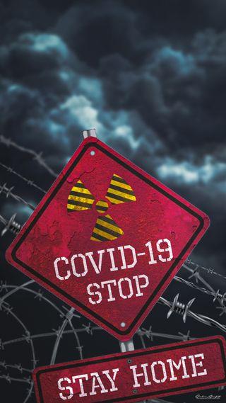 Обои на телефон стоп, цитата, радиоактивный, опасные, корона, дом, вирус, stay home, stay, covid-19, corona virus