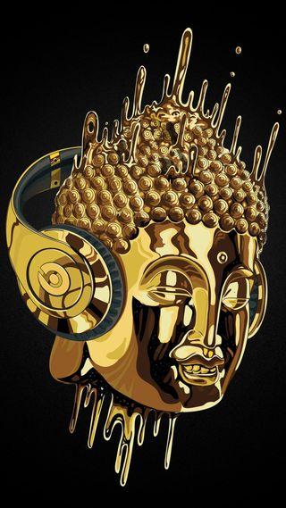 Обои на телефон наушники, супер, музыка, золотые, дизайн, голова