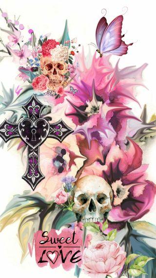 Обои на телефон сахар, череп, розы, пастельные, любовь, крест, бабочки, transparent love, love