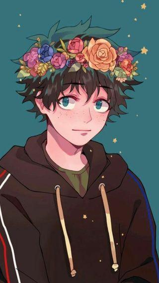 Обои на телефон изуку, бнха, цветочные, герой, floral izuku