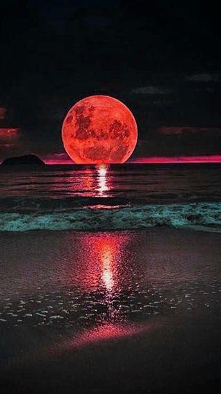 Обои на телефон луна, пейзаж, full moon landscape