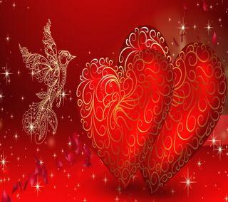 Обои на телефон валентинки, сердце, романтика, любовь, золотые, валентинка, love, golden valentines