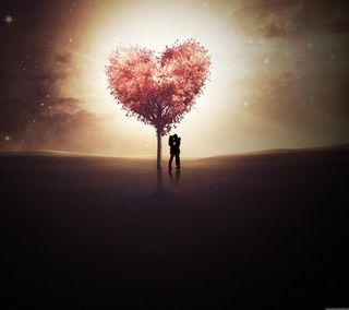 Обои на телефон экран, любовь, дерево, love screen, love