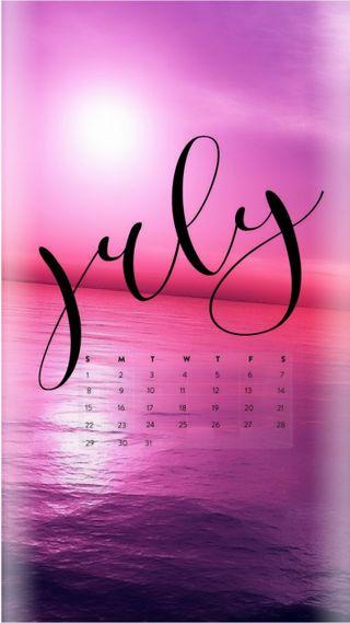 Обои на телефон календарь, розовые, любовь, лето, июль, закат, вода, love, 2018