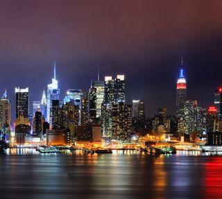 Обои на телефон empire state, new york skyline, новый, горизонт, нью йорк, империя, манхэттен, йорк