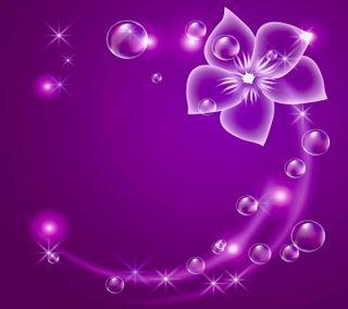 Обои на телефон пузыри, цветы, фиолетовые, сверкающие, неоновые