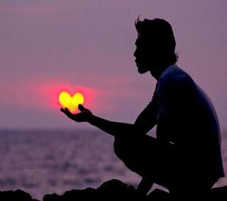 Обои на телефон пальмы, сердце, heart on the palm, ----------