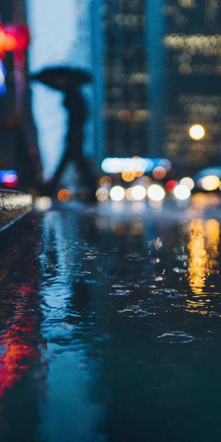 Обои на телефон улицы, погода, улица, ночь, дождь, rainy street