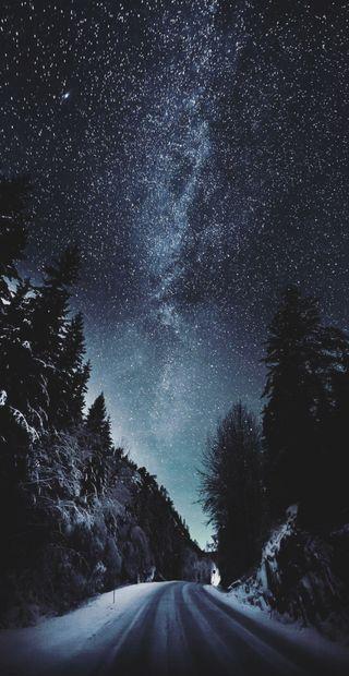 Обои на телефон холод, снег, прекрасные, ночь, небо, зима, звезды