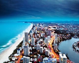 Обои на телефон берег, пейзаж, океан, золотые, здания, городской пейзаж, австралия