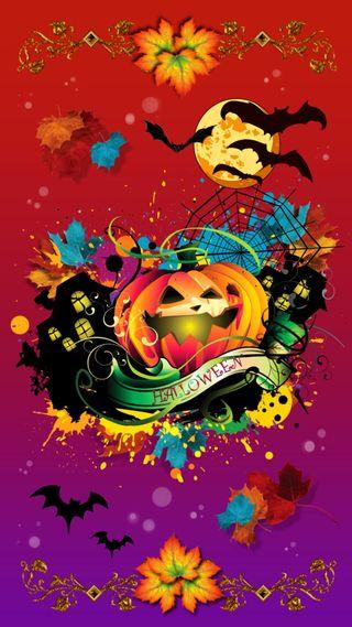Обои на телефон ужасные, хэллоуин, тыква, рисунки, осень, октябрь, листья, летучие мыши, splatter