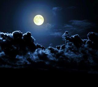 Обои на телефон облака, природа, небо, луна