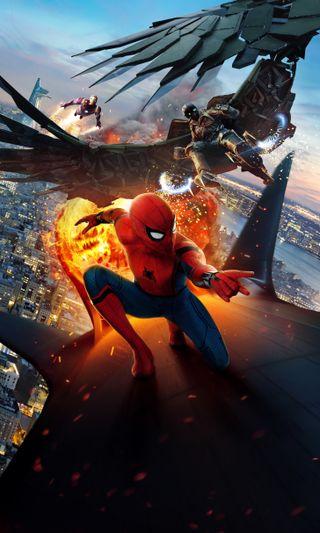 Обои на телефон фильмы, постер, паук, возвращение домой, spider man homecoming, spider man