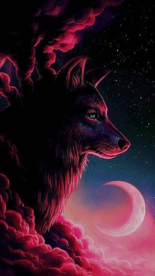 Обои на телефон черные, синие, луна, красые, волк, red wolf