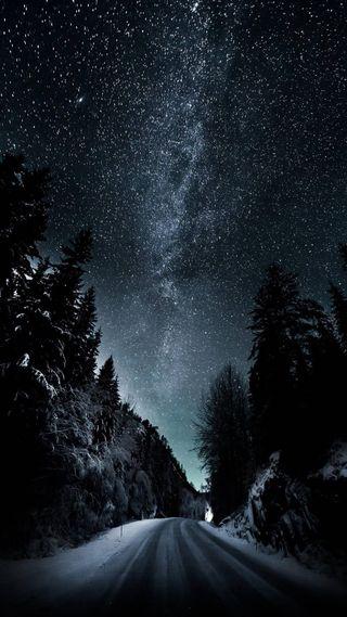 Обои на телефон туманность, ночь, звезды, дорога, night road