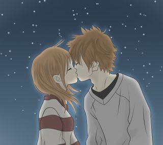 Обои на телефон поцелуй, пара, мультфильмы