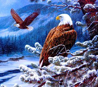 Обои на телефон орел, снег, птицы, новый, арт, hd