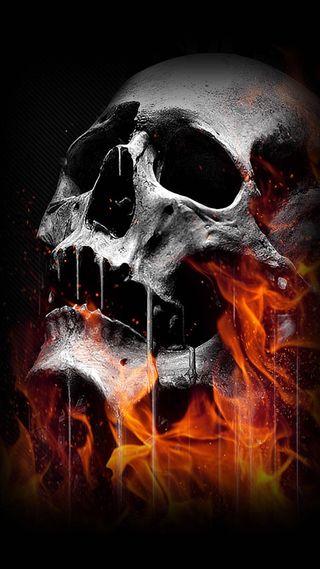 Обои на телефон всадник, череп, призрак, огонь