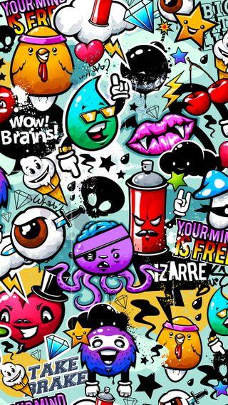 Обои на телефон bizarre, абстрактные, граффити, стикеры