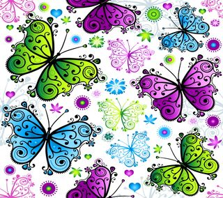 Обои на телефон векторные, бабочки, фон, красочные, дизайн, абстрактные