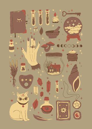 Обои на телефон дудлы, ведьма, хэллоуин, кошки, witchs necessities, witchcraft, wicca
