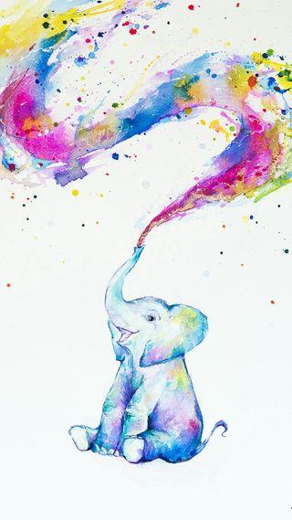 Обои на телефон слон, милые, красочные, белые, абстрактные