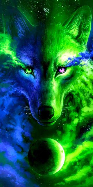Обои на телефон волк, синие, галактика, galaxy
