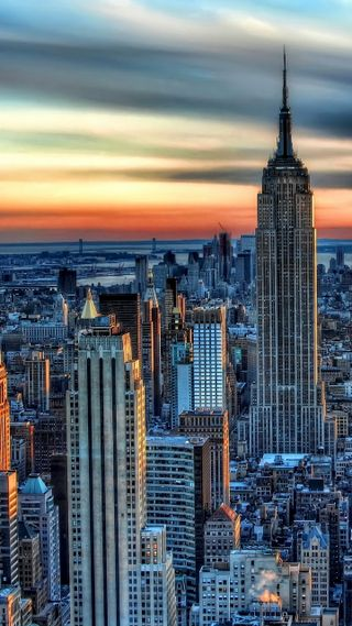 Обои на телефон восход, новый, небоскребы, манхэттен, город, ny