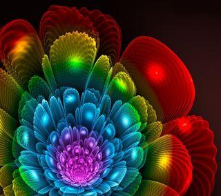 Обои на телефон фрактал, цветы, неоновые