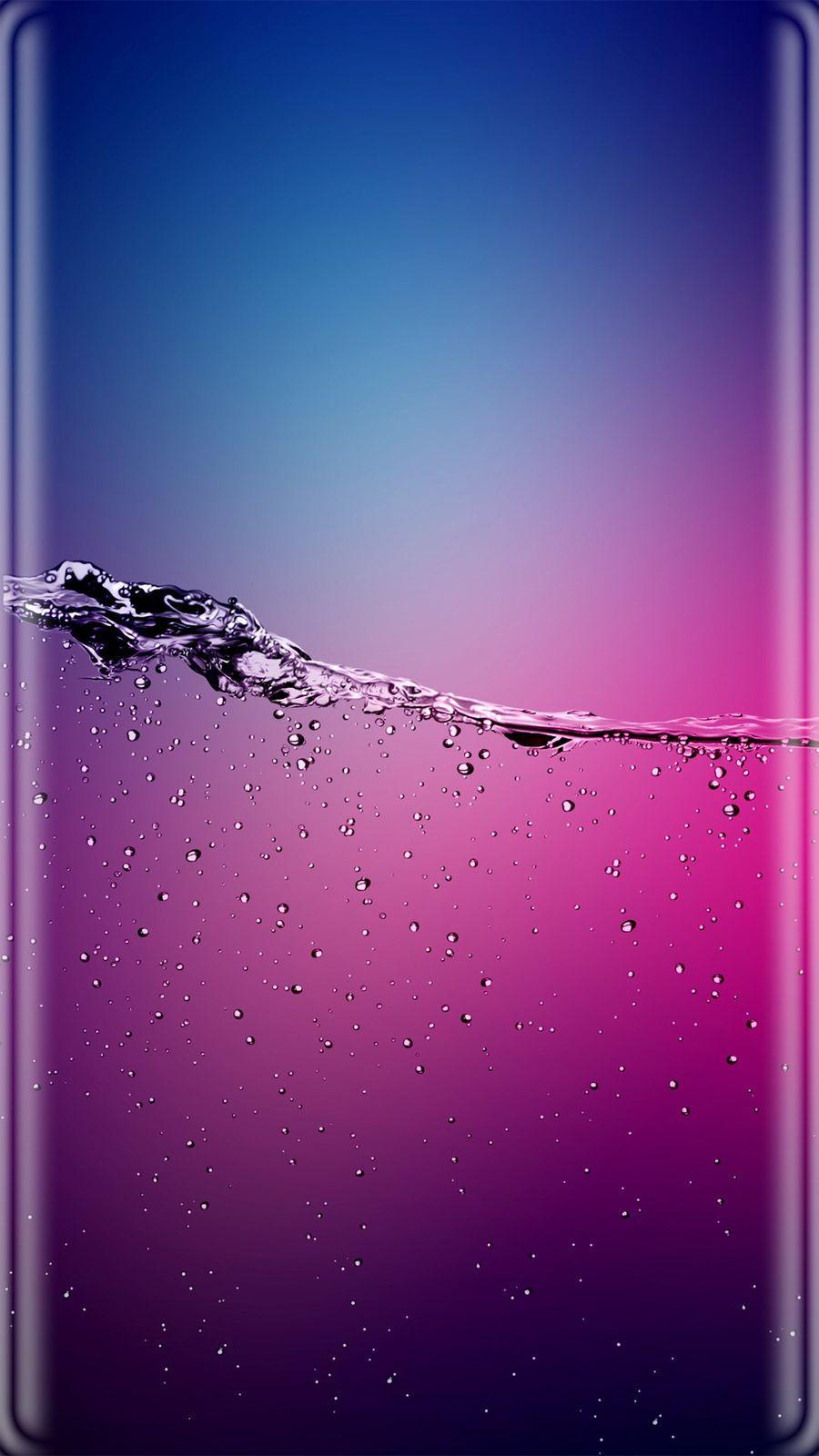 Обои на телефон фиолетовые, синие, розовые, капли, жидкость, грани, вода, абстрактные, s8, s7