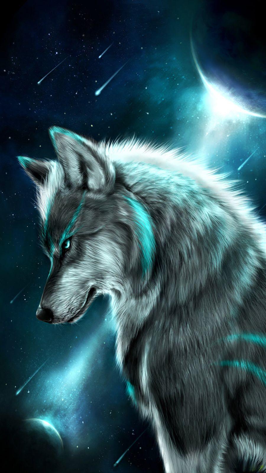 Обои на телефон фантазия, синие, космос, звезды, волк