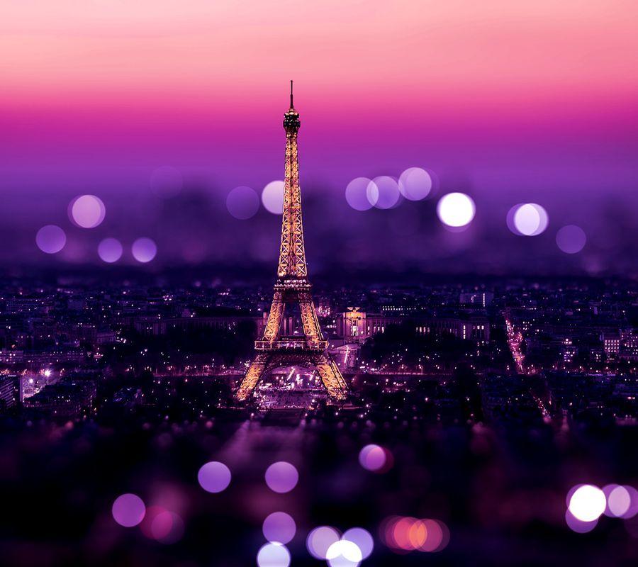 Обои на телефон фиолетовые, сверкающие, париж, боке, башня
