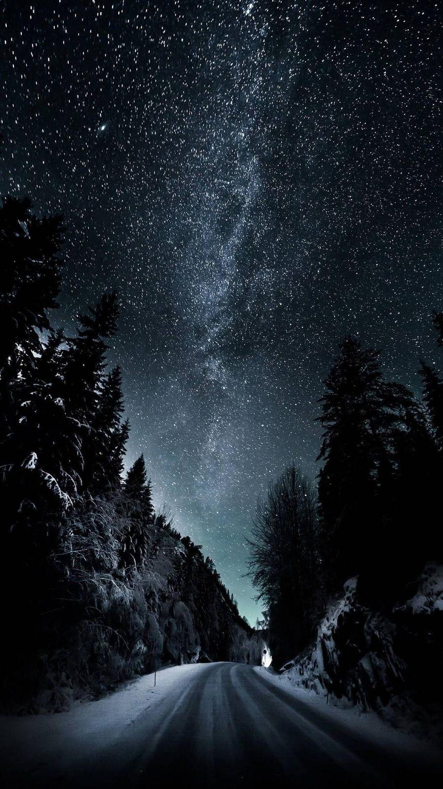 Обои на телефон ночь, космос, дороги, вселенная