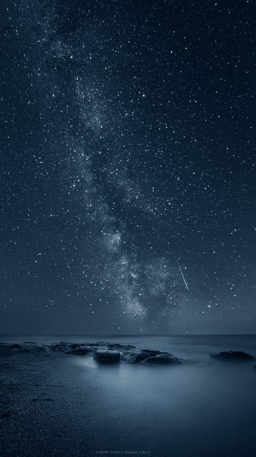 Обои на телефон эпл, пейзаж, океан, ночь, море, звезды, бесконечность, айфон, reflecting infinity, plus, iphone, apple